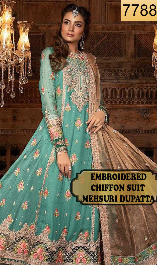 WYMM-7788 - FULL EMBROIDERED DESIGNER 3PC CHIFFON SUIT WITH MEHSURI DUPATTA - PARTY WEAR DRESS 2019 / 2020