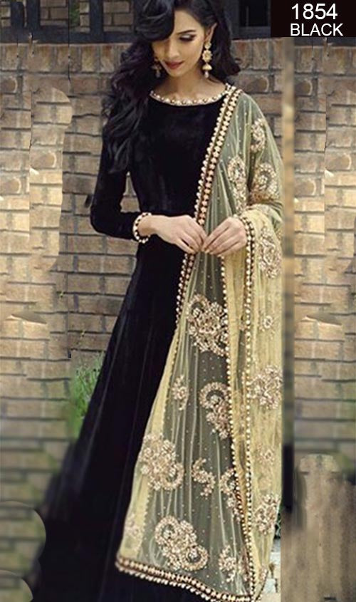 WYRM-1854 BLACK-FULL EMBROIDERY Designer 3pc VELVET  Suit With CHIFFON Dupatta - PARTY WEAR DRESS