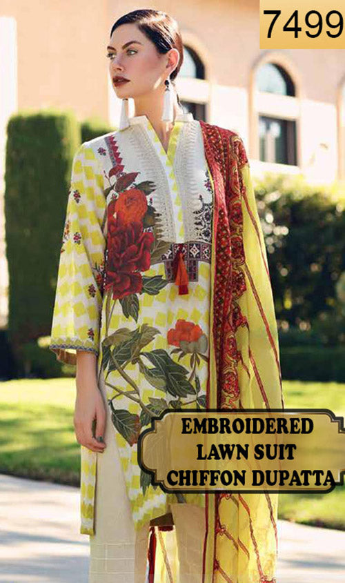 WYRM-7499 - NECK EMBROIDERED DESIGNER 3PC LAWN SUIT WITH CHIFFON DUPATTA - SUMMER COLLECTION 2019 / 2020