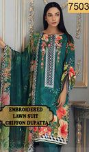 Load image into Gallery viewer, WYRM-7503 - NECK EMBROIDERED DESIGNER 3PC LAWN SUIT WITH CHIFFON DUPATTA - SUMMER COLLECTION 2020 / 2021