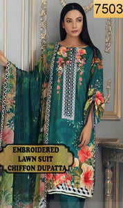 WYRM-7503 - NECK EMBROIDERED DESIGNER 3PC LAWN SUIT WITH CHIFFON DUPATTA - SUMMER COLLECTION 2020 / 2021
