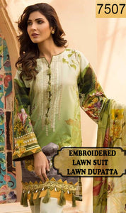 WYRM-7507 - FRONT EMBROIDERED DESIGNER 3PC LAWN SUIT WITH LAWN DUPATTA - SUMMER COLLECTION 2020 / 2021