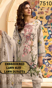 WYRM-7510 - NECK EMBROIDERED DESIGNER 3PC LAWN SUIT WITH LAWN DUPATTA - SUMMER COLLECTION 2020 / 2021