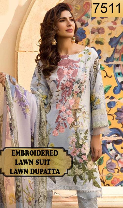 WYRM-7511 - NECK EMBROIDERED DESIGNER 3PC LAWN SUIT WITH LAWN DUPATTA - SUMMER COLLECTION 2020 / 2021