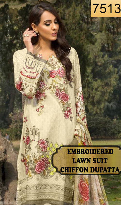 WYRM-7513 - NECK EMBROIDERED DESIGNER 3PC LAWN SUIT WITH CHIFFON DUPATTA - SUMMER COLLECTION 2020 / 2021