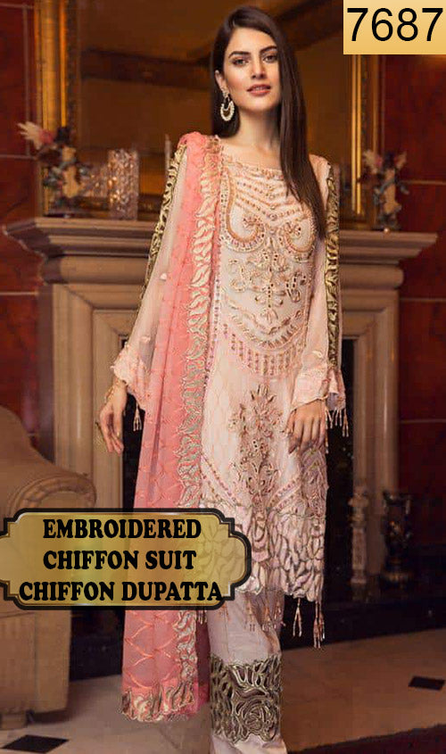 WYRM-7687 - HEAVY HANDWORKED FULL EMBROIDERED DESIGNER 3PC CHIFFON SUIT WITH CHIFFON DUPATTA - PARTY WEAR DRESS 2019 / 2020
