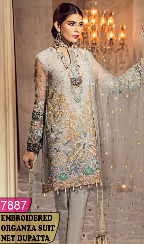 WYRM-7887 - FULL EMBROIDERED DESIGNER 3PC ORGANZA SUIT WITH NET DUPATTA - PARTY WEAR DRESS 2019 / 2020