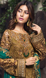 WYRM-7891 - HEAVY HANDWORKED FULL EMBROIDERED DESIGNER 3PC CHIFFON SUIT WITH CHIFFON DUPATTA - PARTY WEAR DRESS 2019 / 2020