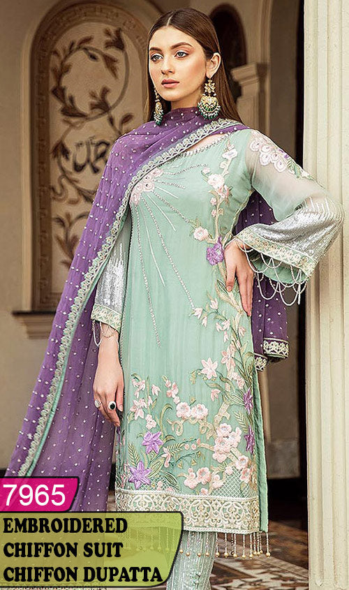 WYRM-7965 - HANDWORKED FULL EMBROIDERED DESIGNER 3PC CHIFFON SUIT WITH CHIFFON DUPATTA - PARTY WEAR DRESS 2020 / 2021