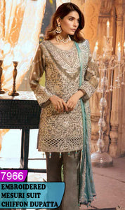 WYRM-7966 - HEAVY HANDWORKED FULL EMBROIDERED DESIGNER 3PC MESURI SUIT WITH CHIFFON DUPATTA - PARTY WEAR DRESS 2020 / 2021