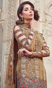 WYRM-7967 - HEAVY HANDWORKED FULL EMBROIDERED DESIGNER 3PC CHIFFON SUIT WITH CHIFFON DUPATTA - PARTY WEAR DRESS 2020 / 2021