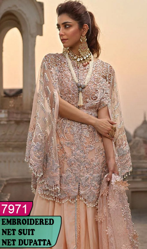 WYRM-7971 - HEAVY HANDWORKED FULL EMBROIDERED DESIGNER 3PC NET SUIT WITH NET DUPATTA - PARTY WEAR DRESS 2020 / 2021