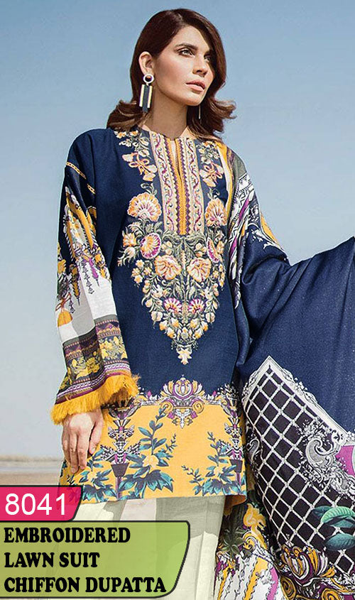 WYRM-8041 - NECK EMBROIDERED DESIGNER 3PC LAWN SUIT WITH CHIFFON DUPATTA - SUMMER COLLECTION 2020 / 2021