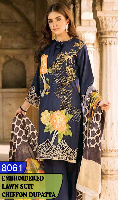 WYRM-8061 - FRONT EMBROIDERED DESIGNER 3PC LAWN SUIT WITH CHIFFON DUPATTA - SUMMER COLLECTION 2020 / 2021