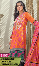 Load image into Gallery viewer, WYRM-8107 - NECK EMBROIDERED DESIGNER 3PC LAWN SUIT WITH CHIFFON DUPATTA - SUMMER COLLECTION 2020 / 2021