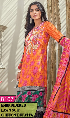 WYRM-8107 - NECK EMBROIDERED DESIGNER 3PC LAWN SUIT WITH CHIFFON DUPATTA - SUMMER COLLECTION 2020 / 2021