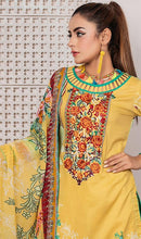 Load image into Gallery viewer, WYRQ-7015 - NECK EMBROIDERED DESIGNER 3PC ORIGINAL LAWN SUIT WITH CHIFFON DUPATTA - SUMMER COLLECTION 2019 - 2020