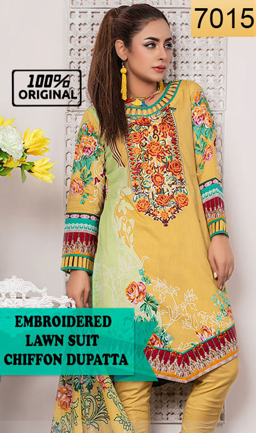 WYRQ-7015 - NECK EMBROIDERED DESIGNER 3PC ORIGINAL LAWN SUIT WITH CHIFFON DUPATTA - SUMMER COLLECTION 2019 - 2020
