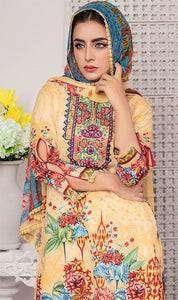 WYRQ-7019 - NECK EMBROIDERED DESIGNER 3PC ORIGINAL LAWN SUIT WITH CHIFFON DUPATTA - SUMMER COLLECTION 2019 - 2020