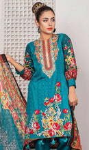 Load image into Gallery viewer, WYRQ-7022 - NECK EMBROIDERED DESIGNER 3PC ORIGINAL LAWN SUIT WITH CHIFFON DUPATTA - SUMMER COLLECTION 2019 - 2020