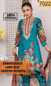 WYRQ-7022 - NECK EMBROIDERED DESIGNER 3PC ORIGINAL LAWN SUIT WITH CHIFFON DUPATTA - SUMMER COLLECTION 2019 - 2020