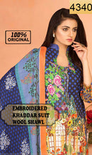 Load image into Gallery viewer, WYRR-4340 - EMBROIDERED DESIGNER 3PC ORIGINAL KHADDAR Suit With WOOL SHAWL DUPATTA - WINTER COLLECTION 2018 / 2019