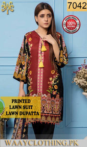 WYRR-7042 - PRINTED ORIGINAL 3PC LAWN SUIT WITH LAWN DUPATTA - SUMMER COLLECTION 2019 - 2020