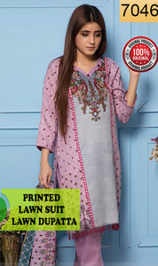 WYRR-7046 - PRINTED ORIGINAL 3PC LAWN SUIT WITH LAWN DUPATTA - SUMMER COLLECTION 2019 - 2020