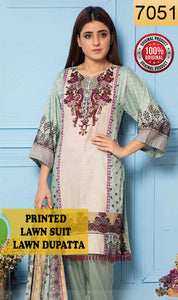WYRR-7051 - PRINTED ORIGINAL 3PC LAWN SUIT WITH LAWN DUPATTA - SUMMER COLLECTION 2019 - 2020