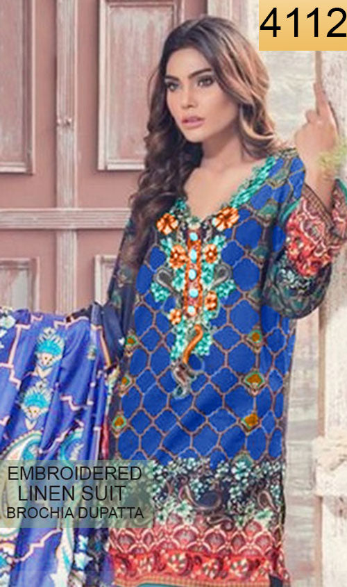 WYSA-4112 - NECK EMBROIDERED DESIGNER 3PC LINEN SUIT With BROCHIA DUPATTA - WINTER COLLECTION 2018- 2019
