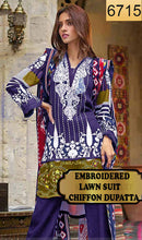 Load image into Gallery viewer, WYSA-6715 - NECK EMBROIDERED DESIGNER 3PC LAWN SUIT WITH CHIFFON DUPATTA - SUMMER COLLECTION 2019- 2020