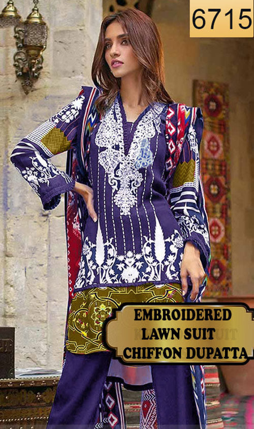 WYSA-6715 - NECK EMBROIDERED DESIGNER 3PC LAWN SUIT WITH CHIFFON DUPATTA - SUMMER COLLECTION 2019- 2020