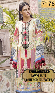 WYSA-7178 - NECK EMBROIDERED DESIGNER 3PC LAWN SUIT WITH CHIFFON DUPATTA - SUMMER COLLECTION 2019- 202
