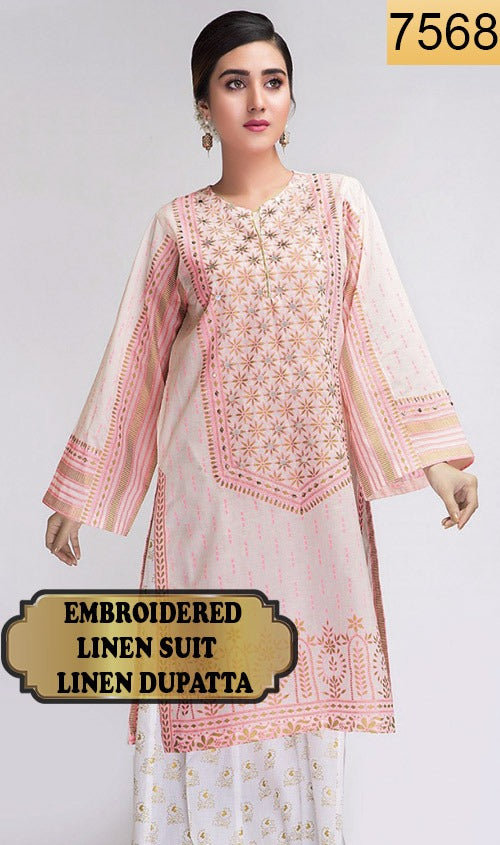 WYSA-7568 - NECK EMBROIDERED DESIGNER 3PC LINEN SUIT WITH LINEN DUPATTA - WINTER COLLECTION 2020 - 2021