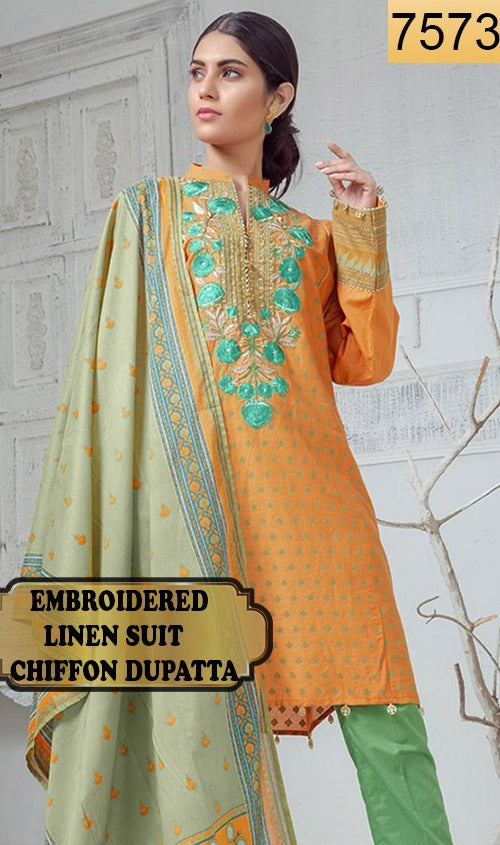 WYSA-7573 - NECK EMBROIDERED DESIGNER 3PC LINEN SUIT WITH CHIFFON DUPATTA - WINTER COLLECTION 2020 - 2021