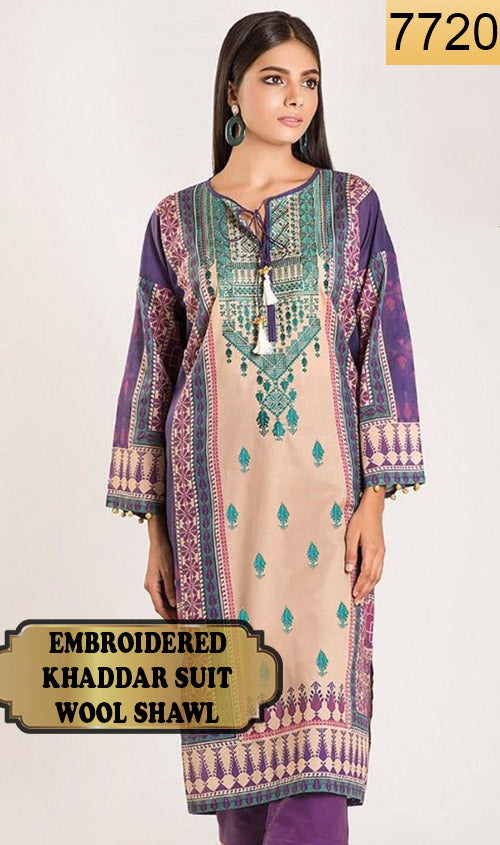 WYSA-7720 - EMBROIDERED DESIGNER 3PC KHADDAR SUIT WITH WOOL SHAWL - WINTER COLLECTION 2019 / 2020