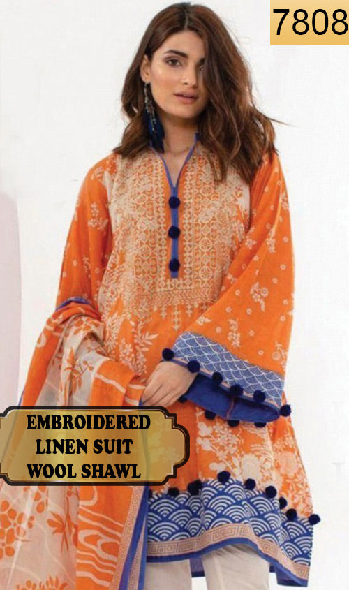 WYSA-7808 - NECK EMBROIDERED DESIGNER 3PC LINEN SUIT WITH WOOL SHAWL - WINTER COLLECTION 2019 / 2020