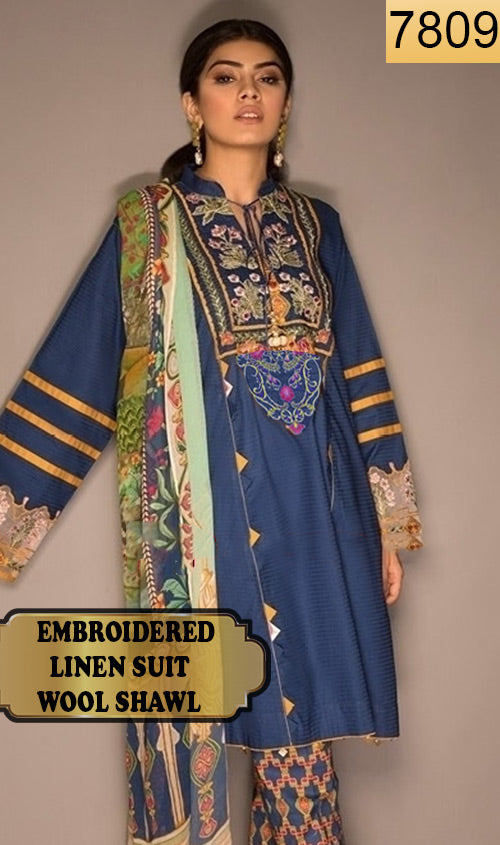 WYSA-7809 - NECK EMBROIDERED DESIGNER 3PC LINEN SUIT WITH WOOL SHAWL - WINTER COLLECTION 2019 / 2020