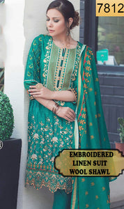 WYSA-7812 - NECK EMBROIDERED DESIGNER 3PC LINEN SUIT WITH WOOL SHAWL - WINTER COLLECTION 2019 / 2020