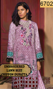 WYSB-6702 - NECK EMBROIDERED DESIGNER 3PC LAWN SUIT WITH CHIFFON DUPATTA - SUMMER COLLECTION 2019 - 2020
