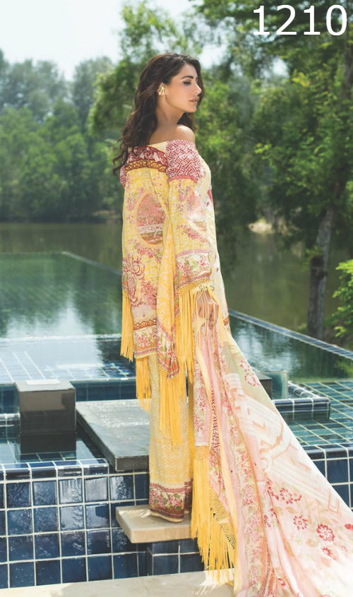 WYSC - 1210 YELLOW - EMBROIDERY Designer 3PC Lawn Suit With Chiffon Dupatta - SUMMER COLLECTION 2017 / 2018