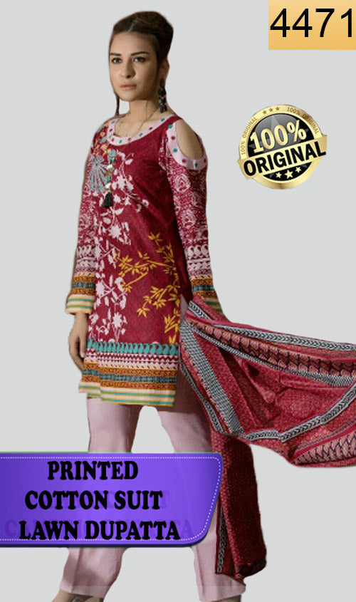 WYSC-4471 - PRINTED ORIGINAL 3PC COTTON SUIT With LAWN DUPATTA - SUMMER COLLECTION 2018- 2019