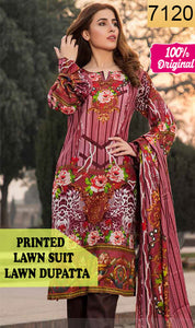 WYSC-7120 - PRINTED ORIGINAL 3PC LAWN SUIT WITH LAWN DUPATTA - SUMMER COLLECTION 2019 - 2020