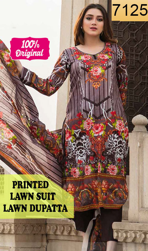 WYSC-7125 - PRINTED ORIGINAL 3PC LAWN SUIT WITH LAWN DUPATTA - SUMMER COLLECTION 2019 - 2020