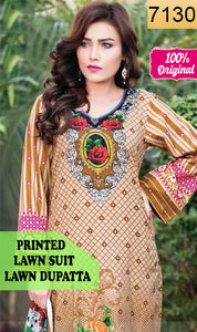 WYSC-7130 - PRINTED ORIGINAL 3PC LAWN SUIT WITH LAWN DUPATTA - SUMMER COLLECTION 2019 - 2020