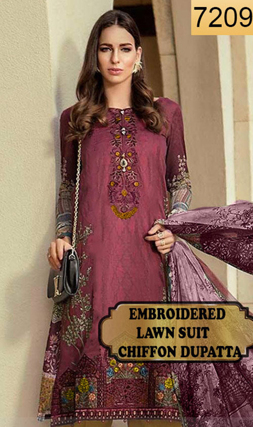 WYSH-7209 - FRONT EMBROIDERED DESIGNER 3PC LAWN SUIT WITH CHIFFON DUPATTA - SUMMER COLLECTION 2019 / 2020