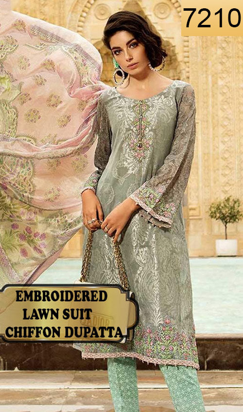 WYSH-7210 - FULL EMBROIDERED DESIGNER 3PC LAWN SUIT WITH CHIFFON DUPATTA - SUMMER COLLECTION 2019 / 2020