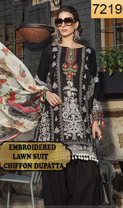 WYSH-7219 - EMBROIDERED DESIGNER 3PC LAWN SUIT WITH CHIFFON DUPATTA - SUMMER COLLECTION 2019 / 2020