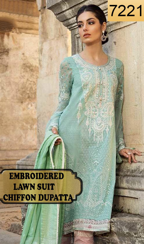 WYSH-7221 - FRONT EMBROIDERED DESIGNER 3PC LAWN SUIT WITH CHIFFON DUPATTA - SUMMER COLLECTION 2019 / 2020