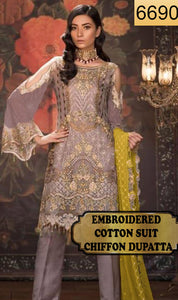WYSK-6690 - FULL EMBROIDERED DESIGNER 3PC COTTON SUIT WITH CHIFFON DUPATTA - WINTER COLLECTION 2019 / 2020